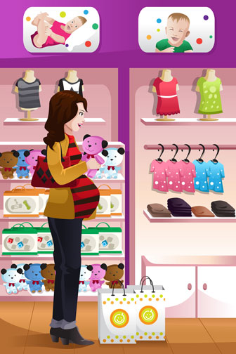 pregnant woman shopping for baby supplies